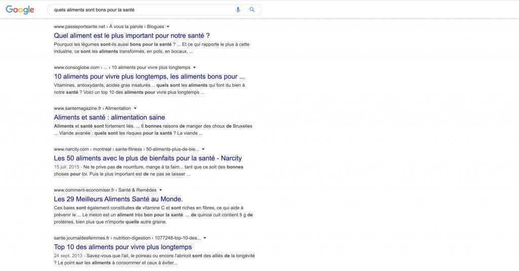 Recherche google aliment sain